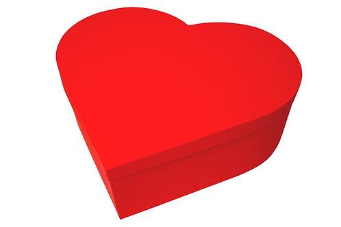 Krabice srdce průměr 45 v 15 cm červená mat