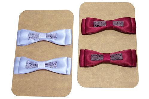 Dekorace mašle s krajkou 2 ks v balení, vínová nebo světle fialová