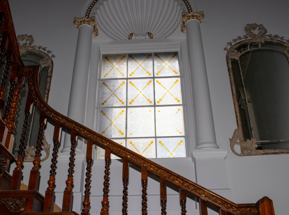 Oak Staircase & stained glass window