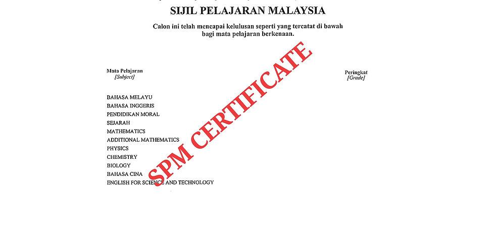 Malay SPM Certificate
