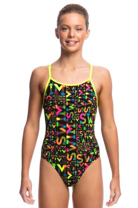Funkita Night Swim Diamond Back Girls One Piece Swimsuit