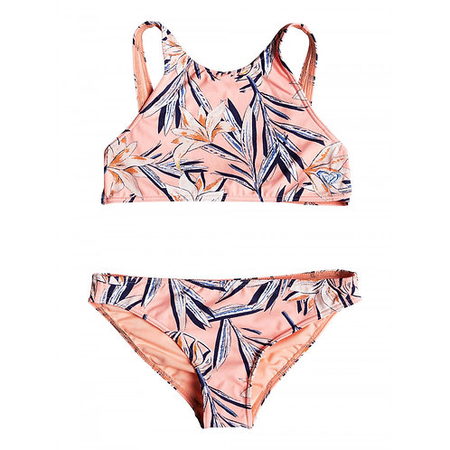 Roxy Swimwear Girls Born in Wave Crop Top Set
