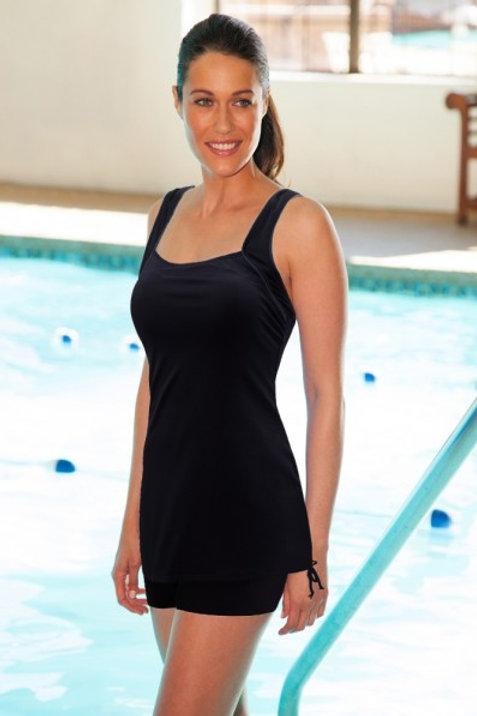 TYR Swimwear Black Solids Square Neck Sheath One Piece Swimsuit