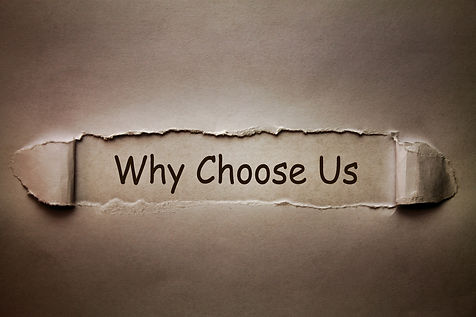 Why choose us, text on old torn paper.jp