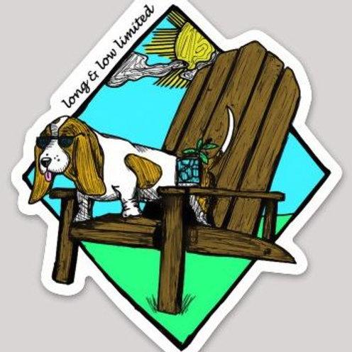 """Adirondack"" Basset Decal Sticker"