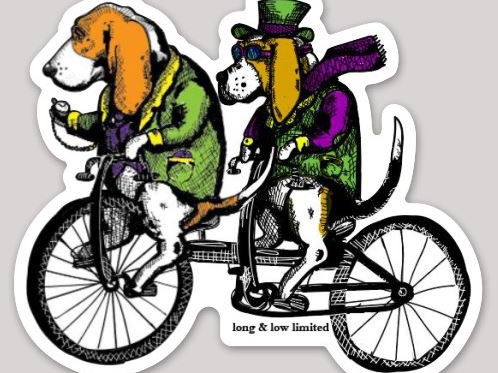 """Bassets on a Tandem"" Decal Sticker"