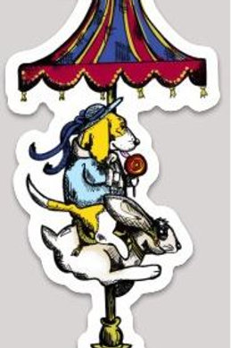 """Basset on a Carousel"" Decal Sticker"