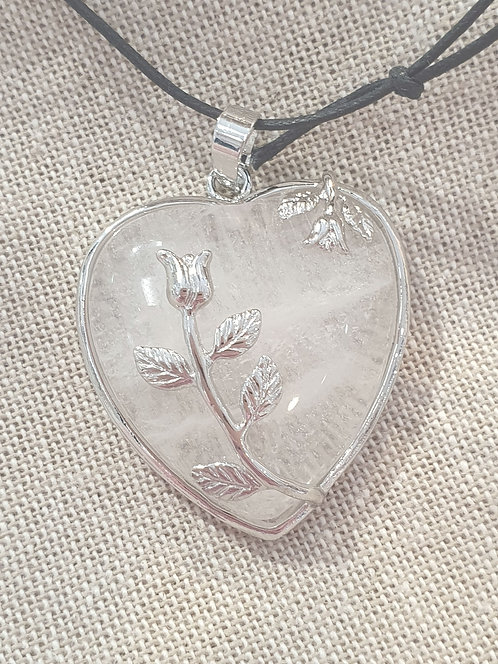 Clear quartz heart with rose pendant