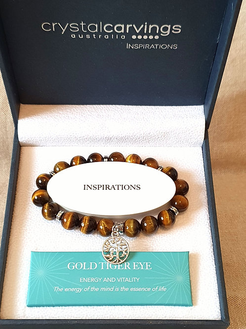 Gold tiger eye tree of life bracelet