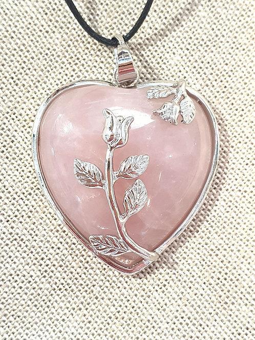 Rose quartz heart with rose pendant