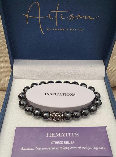 Hematite stainless steel bead bracelet
