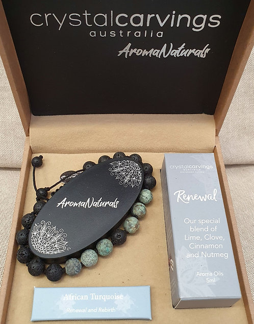 African Turquoise & Lava Stone with Aroma oil Bracelt set