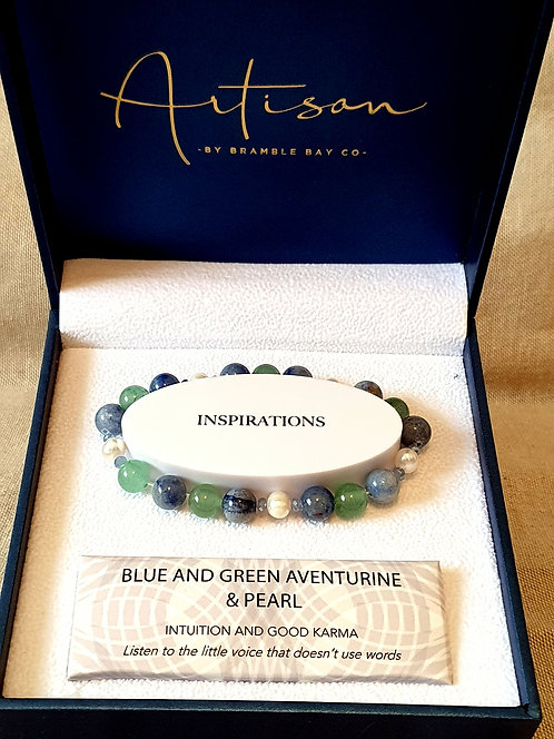 Blue and green aventurine with pearl bracelet