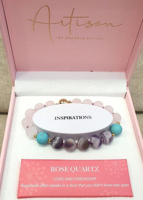 Rose Quartz, Amethyst & Turquoise Matt Bracelet