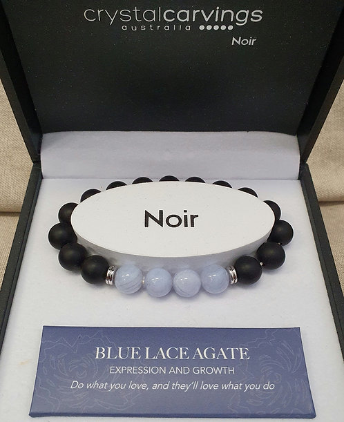 Blue Lace Agate & Black Agate Bracelet