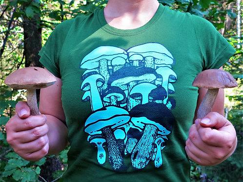 Dámské zelené tričko Hřibovité