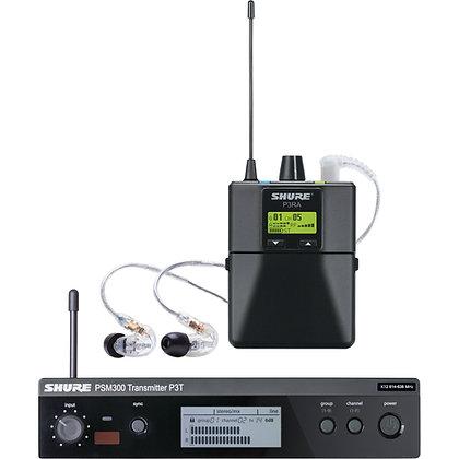 Rental - Shure PSM300 Wireless Monitor System w P3RA Bodypack & SE215CL In-ears