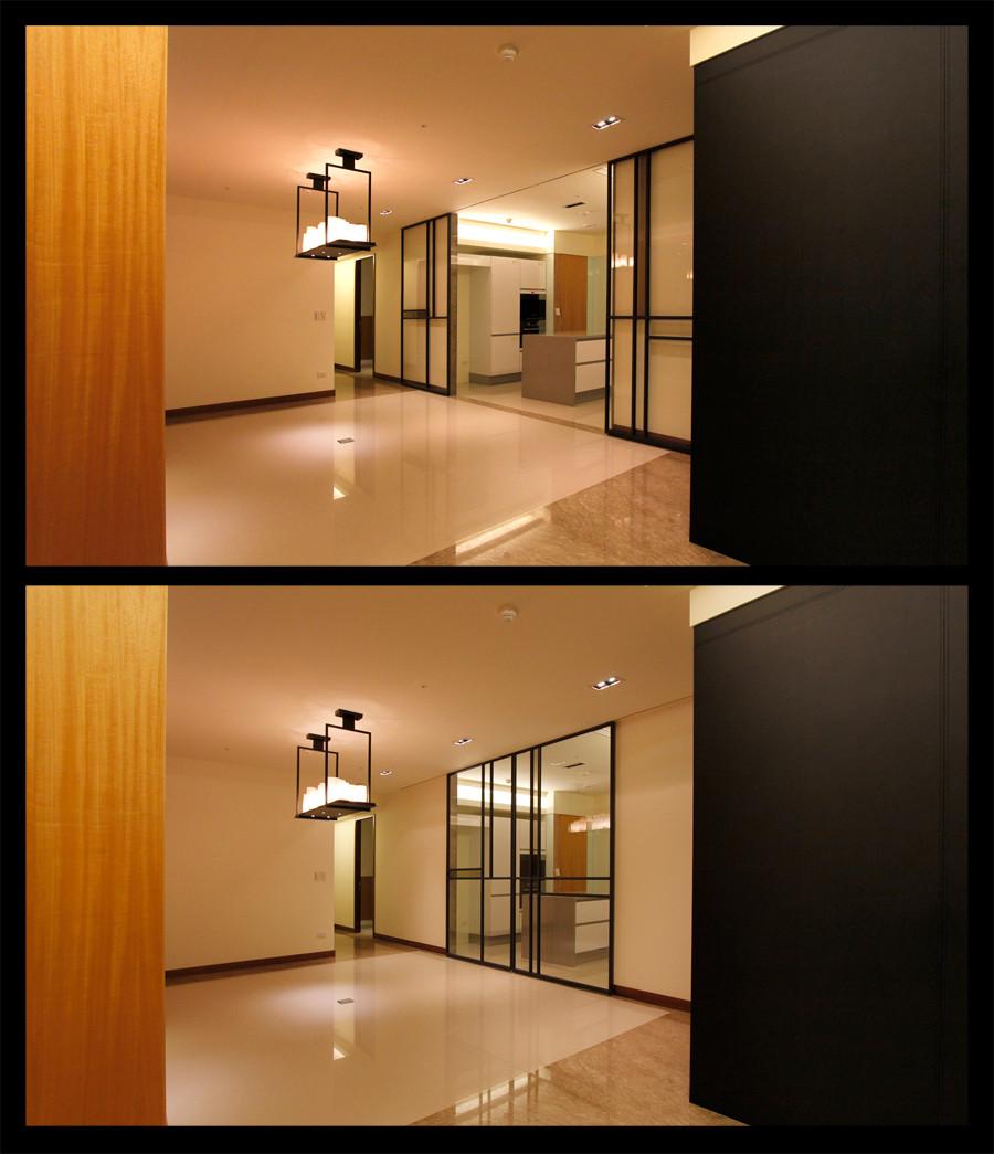 廚房鐵框玻璃門