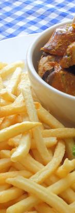 Currwurst with Chips, Salad & Sauerkraut
