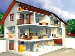 Дом с цокольным этажом и мансардой в разрезео