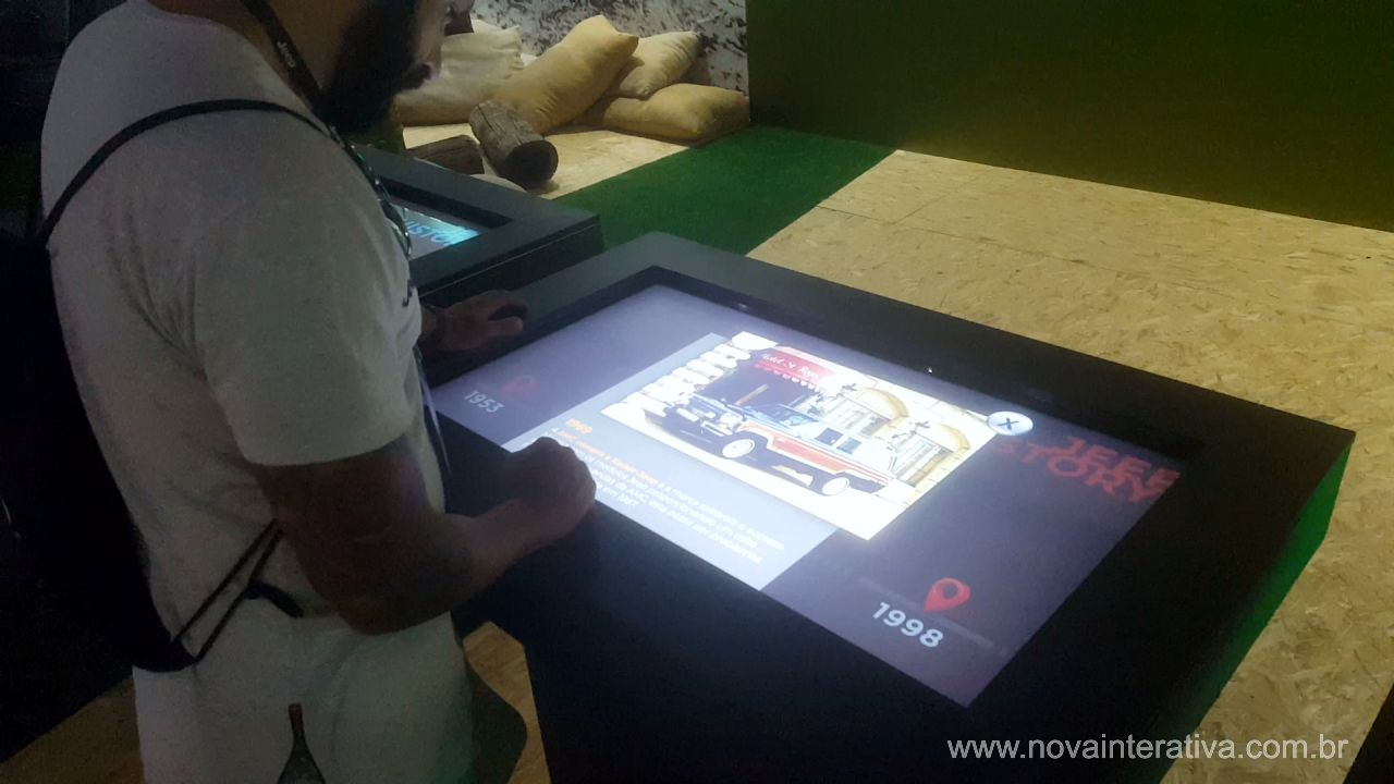 Mesa interativa touch screen com catalog