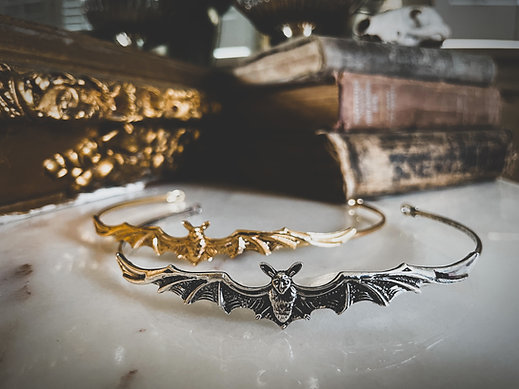 Baroque Metal Bat Tiara, Vintage Crown