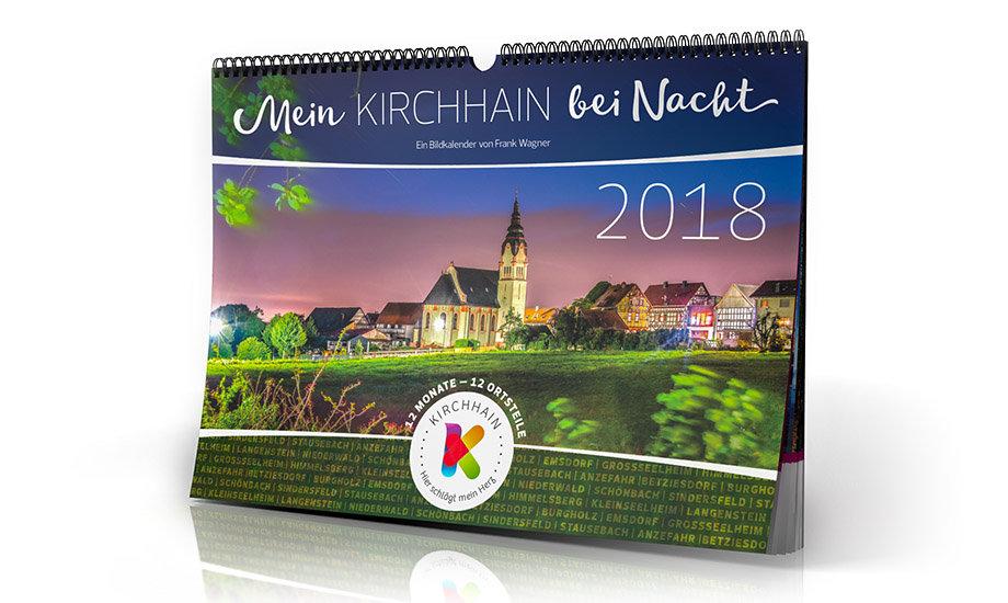 DIN A3 Wandkalender – MeinKIRCHHAIN bei Nacht 2018