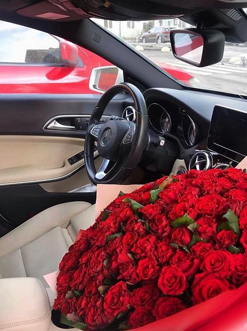 Bouquet de 100 roses rouges gros boutons