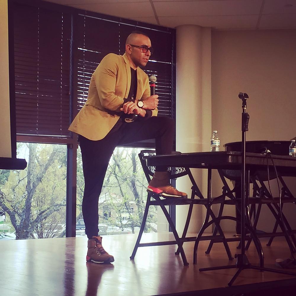 Sohrab Mirmont speaking at Utah Film Festival