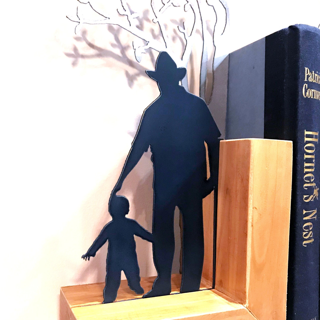 closeup grandfather bookends