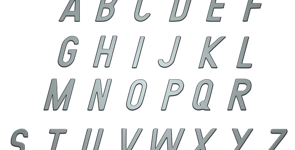 Italic Alphabet capital letters metal shapes