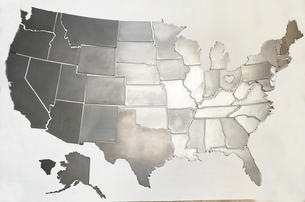 All 50 US states in metal pieces