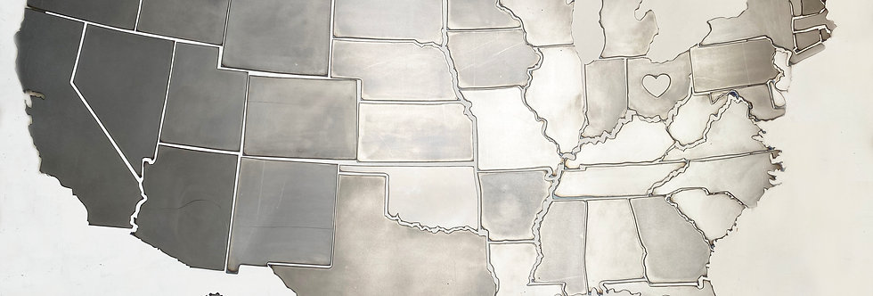 "50 US States in metal - 59"" x 35"" - Option to add an heart on your state"