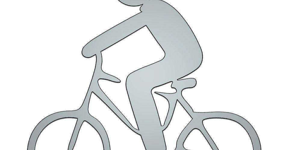 Man stick figure biking metal shapes