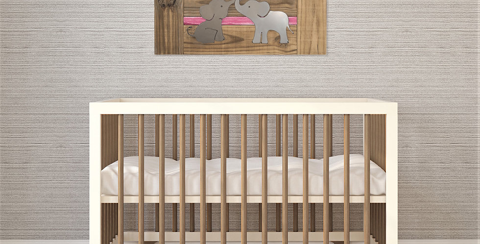Elephant Nursery Wall Art for siblings or twins- Natural Wood & Metal