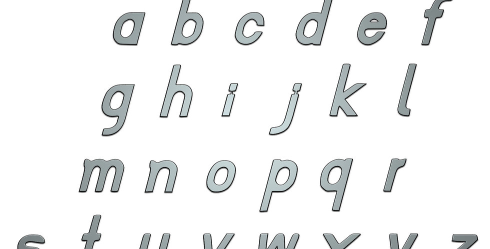 Italic Alphabet lower case letters metal shapes