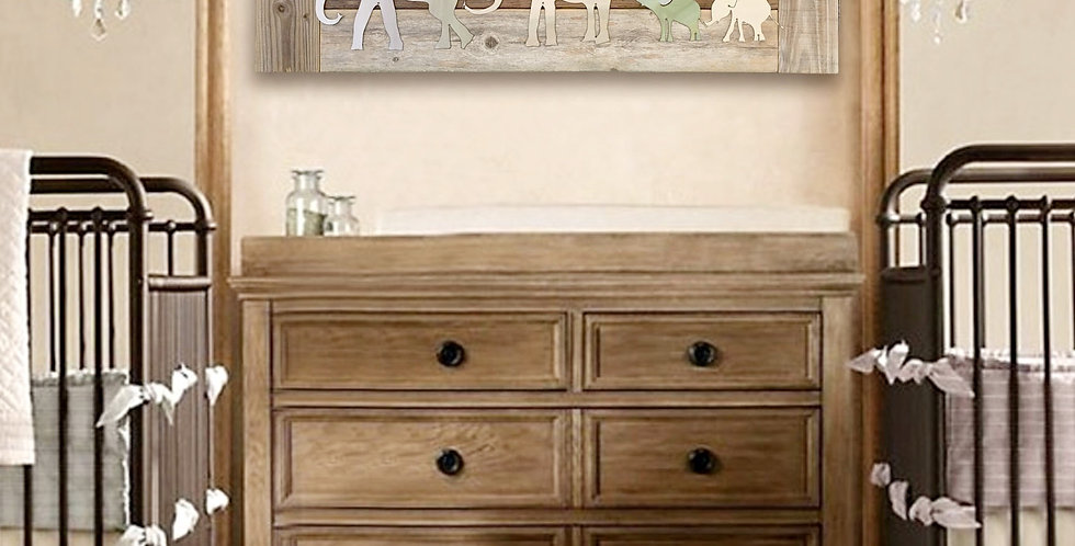 Elephant family of 3 nursery wall art- Natural reclaimed wood & Metal