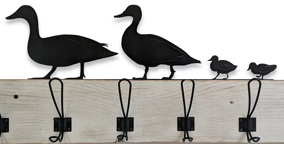 Personalized Duck Coat Rack- Reclaimed wood and metal hooks