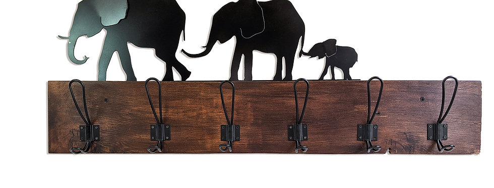Personalized Elephant Coat Rack- Reclaimed wood and metal hooks