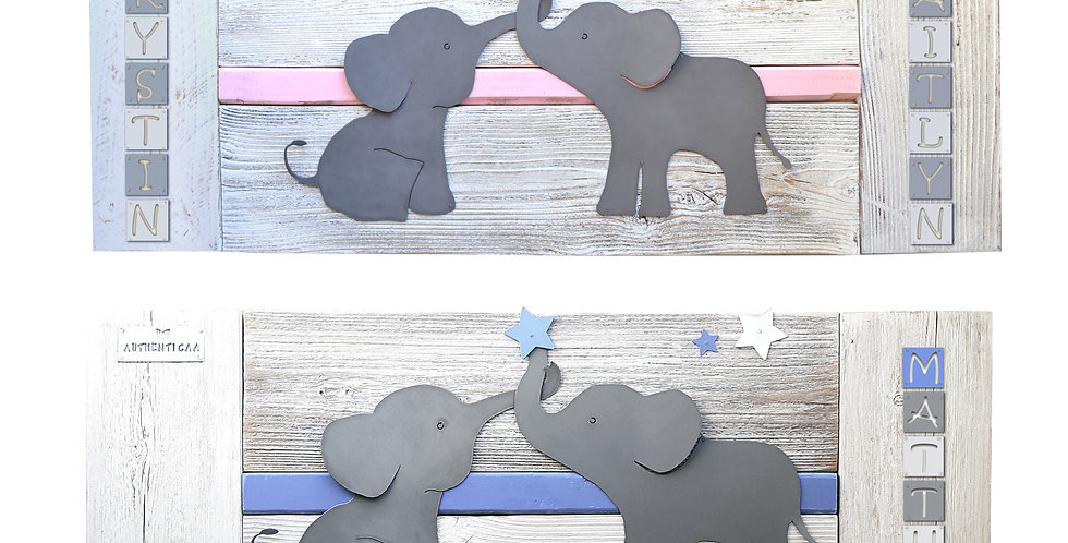 Personalized Elephant Nursery Wall Art for siblings or twins- Natural Wood & Met