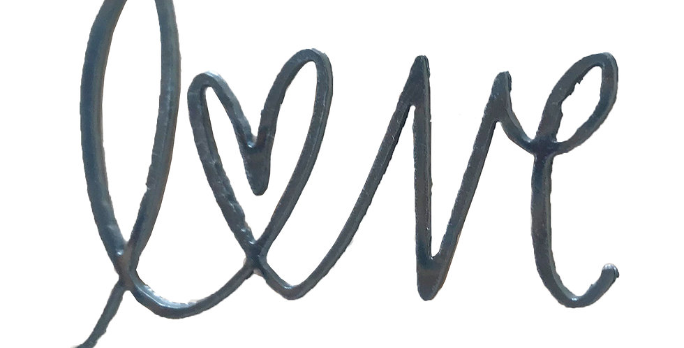 Love cursive metal shapes