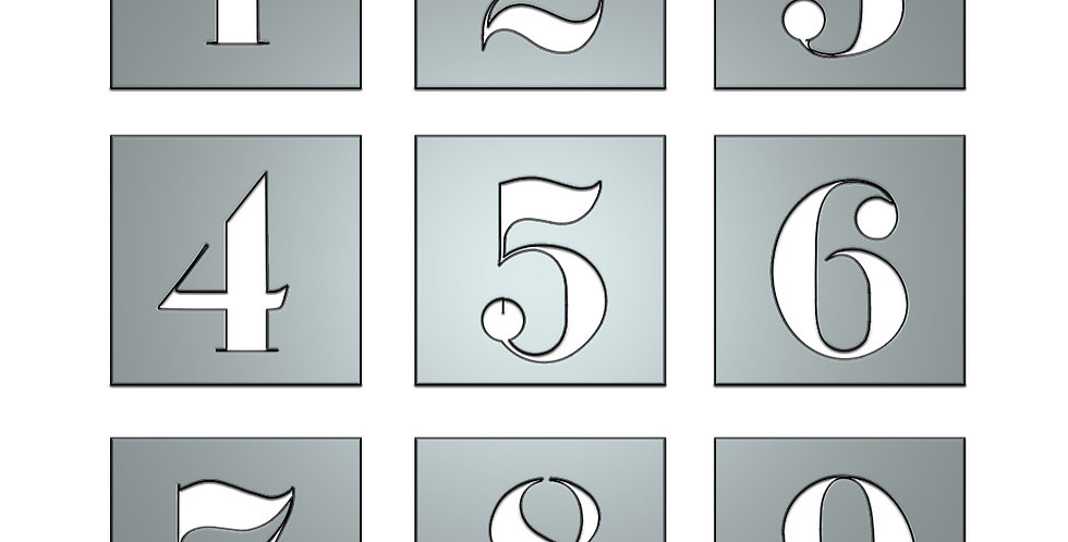 Ball font numbers metal shapes