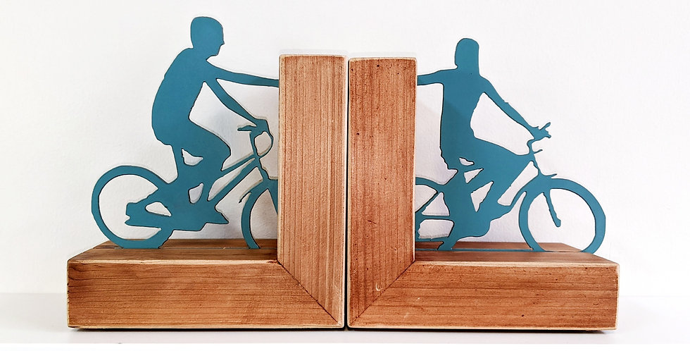 Biking Couple Bookends
