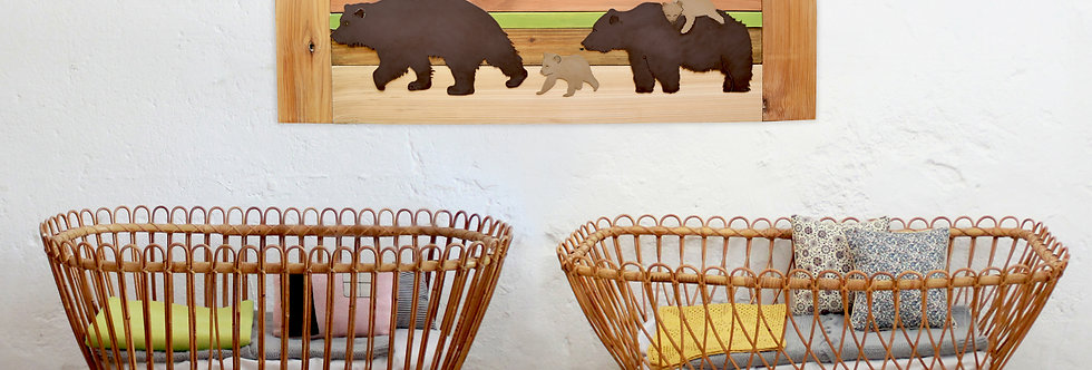 Personalized brown bear family nursery art - Reclaimed Wood and Metal