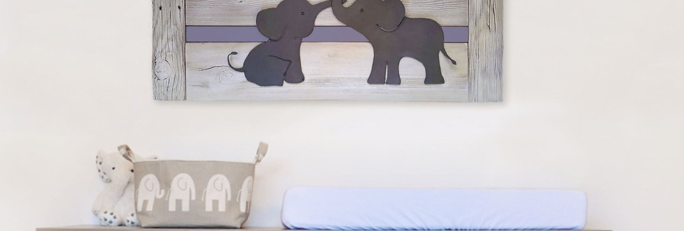 Elephant nursery wall art for twins or siblings- Whitewash Wood & Metal