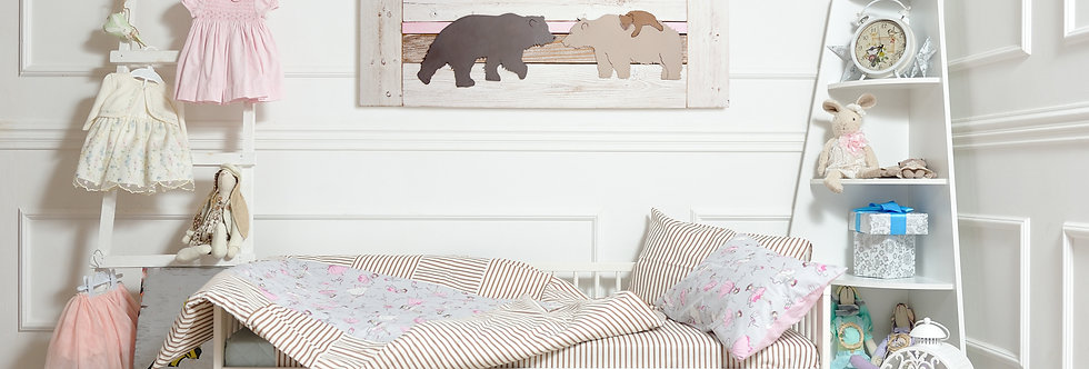 Personalized bear family nursery art - Whitewash reclaimed Wood & Metal