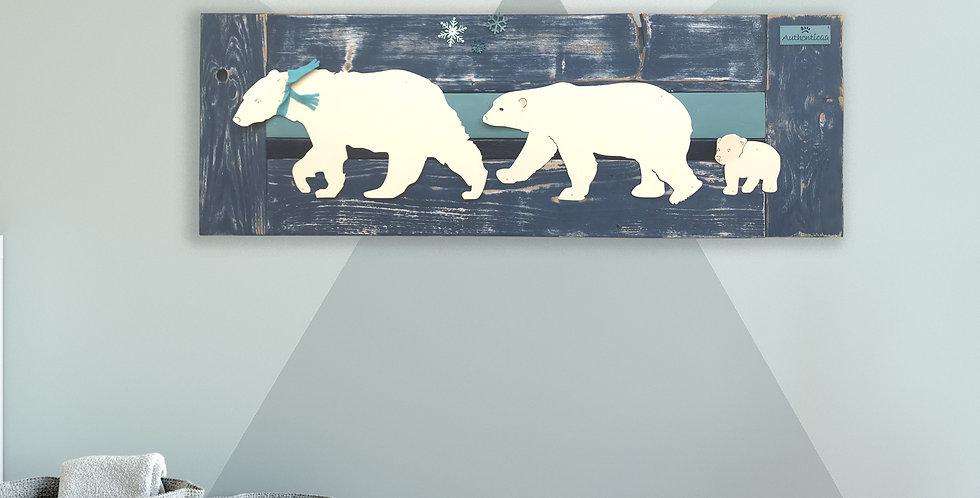 Polar bear family nursery art - Reclaimed Wood and Metal