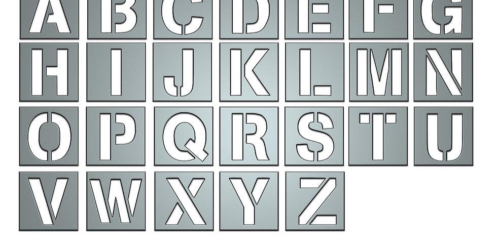 Stencil Alphabet letters metal shapes