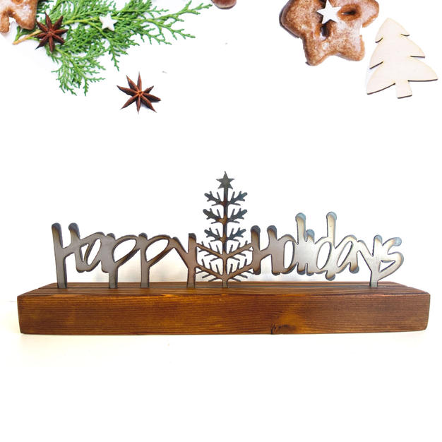 Happy holidays shelf decor