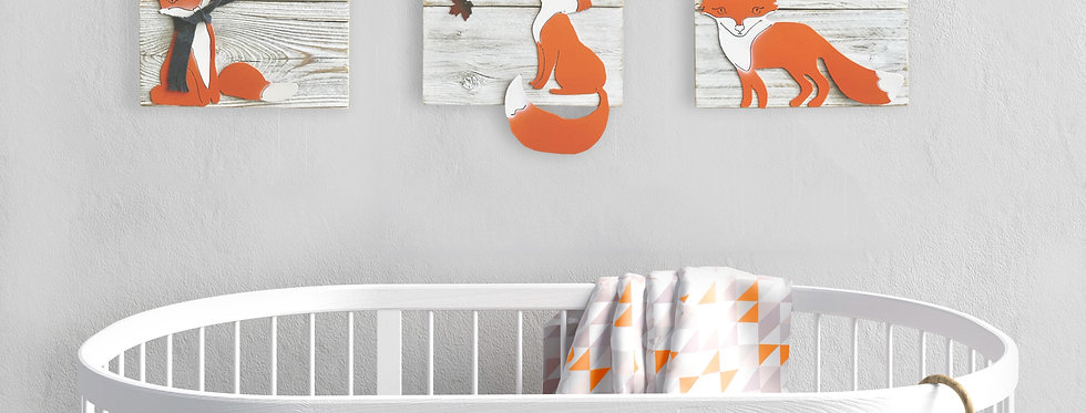 Fox trio nursery wall art - Whitewash reclaimed wood & metal